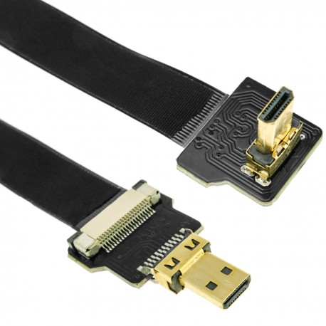 Cable vídeo HDMI plano FPV 50 cm micro D-macho a micro D-macho con ángulo