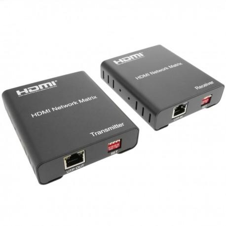 Extensor y multiplicador HDMI a través de LAN Tx y Rx compatible IR y TCP/IP