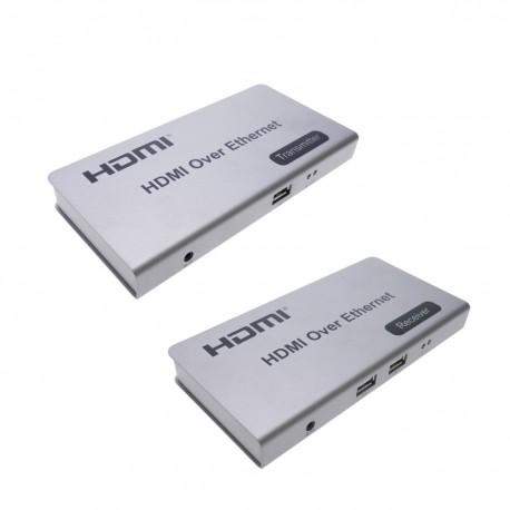 Extensor KVM de HDMI USB IR a través de Ethernet hasta 120m emisor y receptor