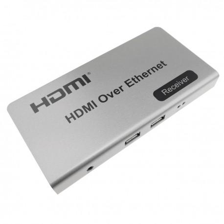 Extensor KVM de HDMI USB IR a través de Ethernet hasta 120m receptor