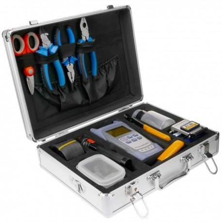 Maletín de aluminio con kit de herramientas para fibra óptica