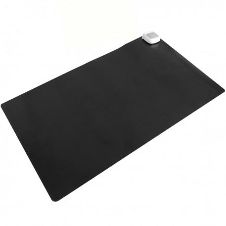 Alfombra y superficie térmico con calefacción para escritorio suelo y pies de 60 x 36 cm 65W negro