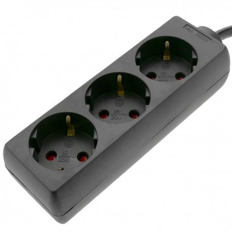 Regleta de enchufes 3 schuko 16A 250V negra con cable de 3 m