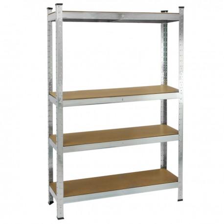 Estanteria metálica galvanizada para almacenar de 4 baldas de madera 80x40x160 cm