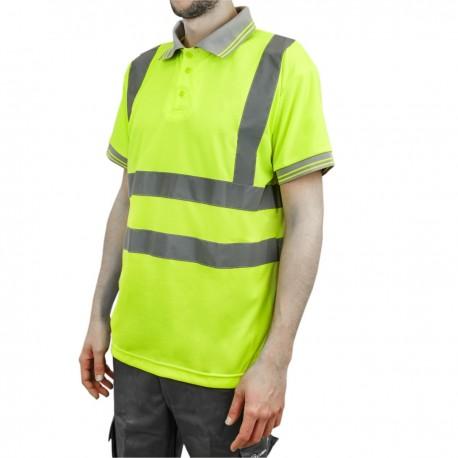 Camiseta tipo polo de manga corta reflectante amarillo para seguridad laboral de talla XL