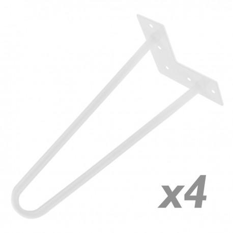 Pies para mesa y mueble Patas en acero 2 varillas 15 cm blanco 4-pack