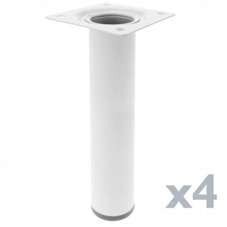 Pies redondos para mesa y mueble. Patas en acero blancas de 25cm 4-pack