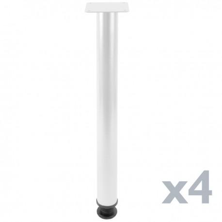 Pies redondos para mesa y mueble. Patas en acero blancas de 72-75 cm 4-pack