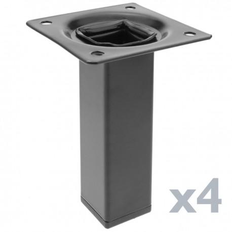 Pies cuadrados para mesa y mueble. Patas en acero negras de 10cm 4-pack