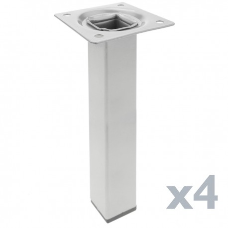 Pies cuadrados para mesa y mueble. Patas en acero gris de 25cm 4-pack
