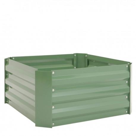 Jardinera metálica verde 60x60x30 cm