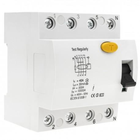 Interruptor diferencial 4P 40A 6kA