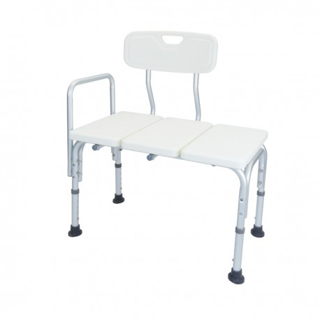 Asiento de bañera antideslizante regulable en altura con resposabrazos para personas mayores