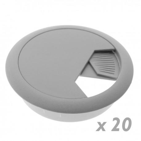 Lote de 20 pasacables redondo para encastrar en mesa de color gris y diámetro 53 mm