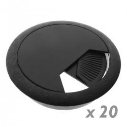 Lote de 20 pasacables redondo para encastrar en mesa de color negro y diámetro 53 mm