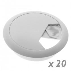 Lote de 20 pasacables redondo para encastrar en mesa de color blanco y diámetro 60 mm