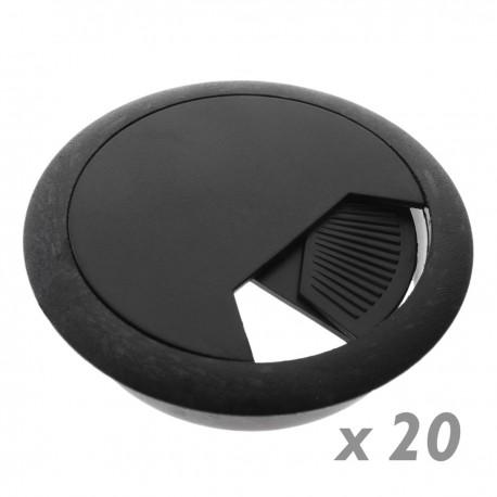Lote de 20 pasacables redondo para encastrar en mesa de color negro y diámetro 60 mm