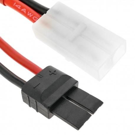 Cable TRAXXAS -1 macho a TAMIYA -1 macho de 8cm 14AWG Carga y fuente alimentación