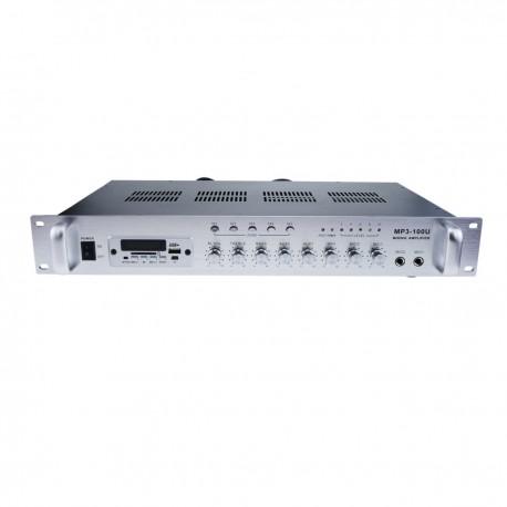 Amplificador para sonorización profesional de 100W 110V 5 zonas con MIC AUX FM MP3 rack
