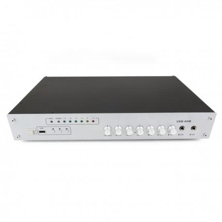 Amplificador para sonorización profesional de 60W 110V 1 zona con MIC AUX MP3