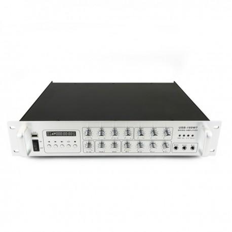 Amplificador para sonorización profesional de 180W 110V 4 zonas con MIC AUX MP3 rack