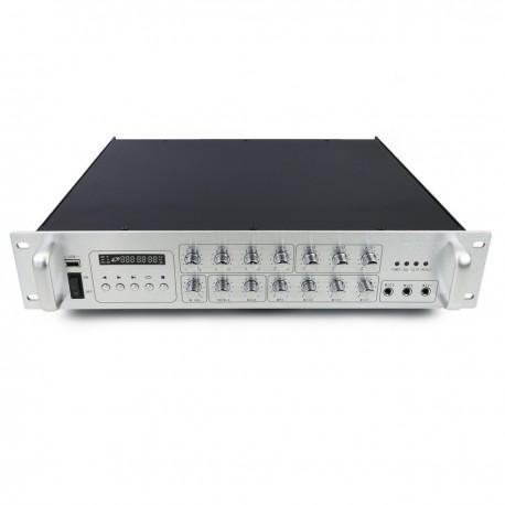 Amplificador para sonorización profesional de 700W 110V 4 zonas con MIC AUX MP3 rack