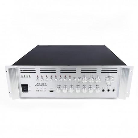 Amplificador para sonorización profesional de 1200W 110V 8 zonas con MIC AUX MP3 rack
