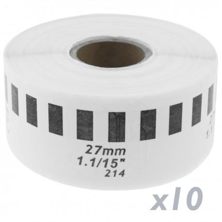 Rollo bobina de etiquetas continuas adhesivas compatibles con Brother DK-22214 DK-2214 12mm 10-pack