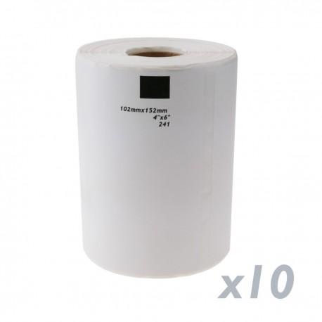 Rollo bobina de 200 etiquetas adhesivas compatibles con Brother DK-11241 DK-1241 102x152mm 10-pack