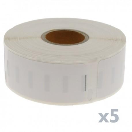 Rollo bobina de 500 etiquetas adhesivas compatibles con Dymo S0722520 y Dymo 11352 25x54mm 5-pack