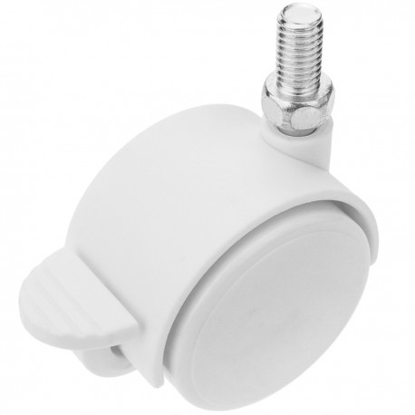Rueda pivotante de nailon con freno 40 mm M8 blanca 4 pack
