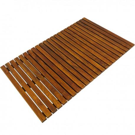 Tarima para ducha y baño rectangular 80 x 50 cm de madera de teca certificada