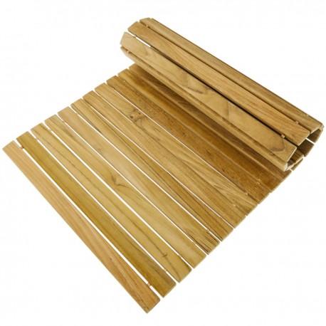 Alfombra para ducha y baño rectangular y enrollable 46 x 30 cm de madera de teca certificada