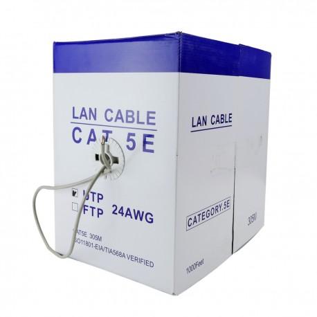 Bobina cable UTP categoría 5e 24AWG rígido gris 305m