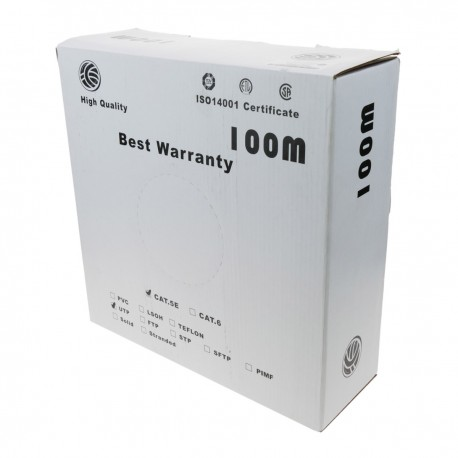 Bobina cable UTP categoría 5e 24AWG flexible gris 100m
