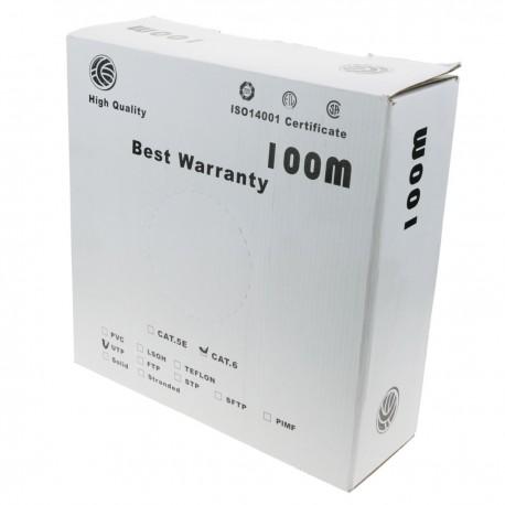 Bobina cable UTP categoría 6 24AWG flexible gris 100m