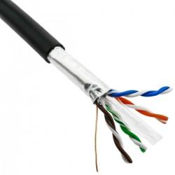 Bobina cable de red FTP Cat.6 23AWG para exteriores rígido negro 305m