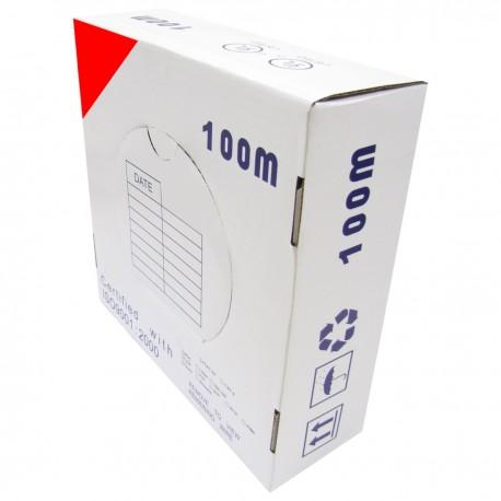 Bobina cable UTP categoría 5e 24AWG CCA rígido rojo 100m