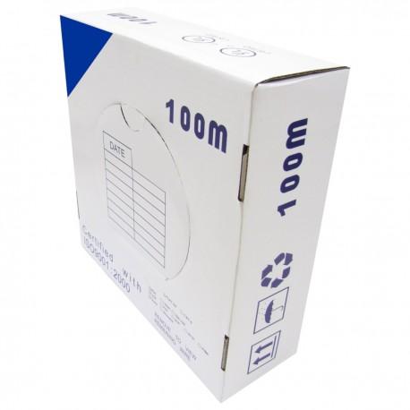 Bobina cable UTP categoría 6 24AWG CCA rígido azul 100m