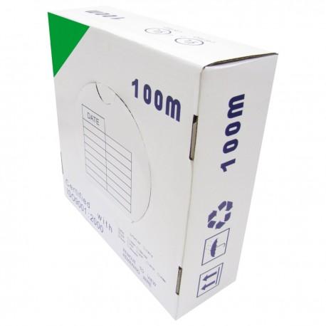 Bobina cable UTP categoría 5e 24AWG CCA rígido verde 100m