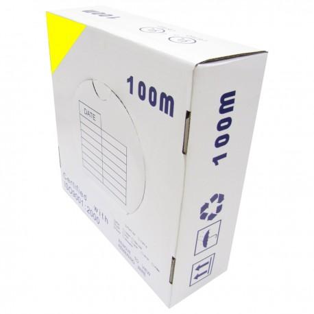 Bobina cable UTP categoría 5e 24AWG CCA rígido amarillo 100m