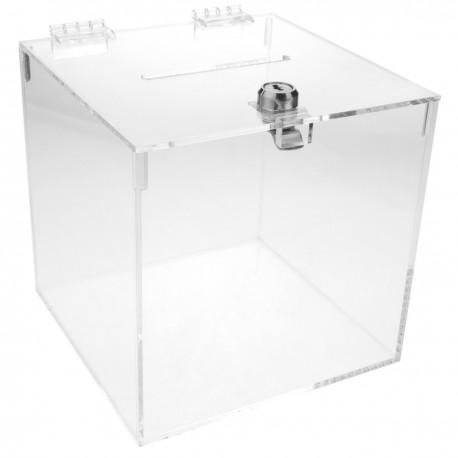 Urna de metacrilato transparente con llave de seguridad 15x15x15cm