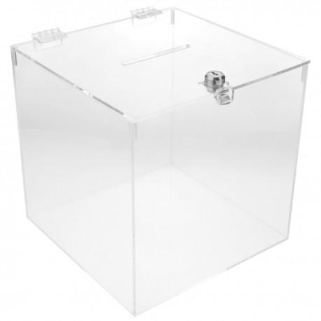 Urna de metacrilato transparente con llave de seguridad 20x20x20cm