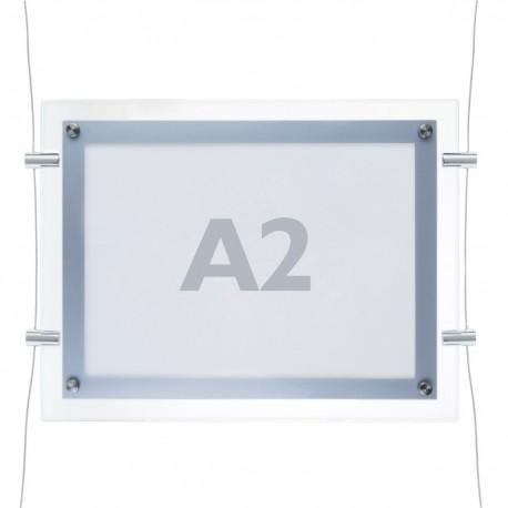 Marco cuadro iluminado por LED A2 670x495mm doble cara de metacrilato para cartel anuncio letrero