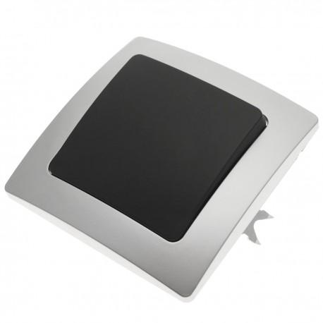 Interruptor de cruzamiento empotrable con marco 80x80mm serie Lille de color plata y gris