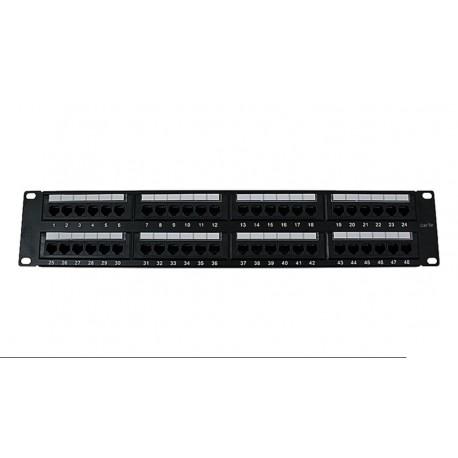 """Panel de transferencia UTP 19"""" 48 puertos Cat.5E 2U dual block"""