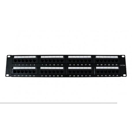 """Panel de transferencia UTP 19"""" Cat. 6A Dual 2U 48p"""