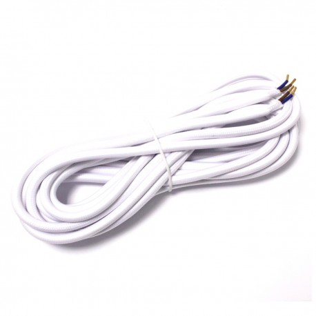 Cable eléctrico decorativo de tela 5m 2x0.75mm de color blanco