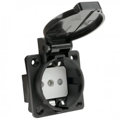 Base de enchufe industrial schuko con tapa IP44 empotrable a tornillo color negro