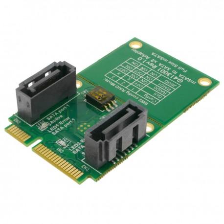 Tarjeta adaptadora SSD mSATA a SATA 2 x 7-pin